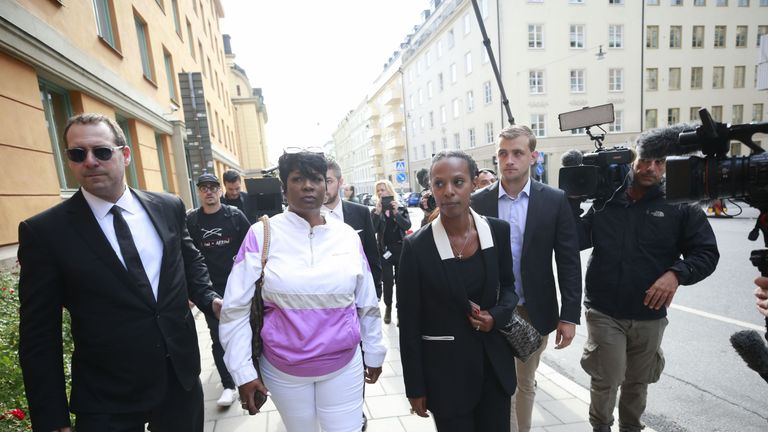 Renee Black (C), ASAP Rocky's mother, arrives at the district court to follow her son's trial in Stockholm on July 30, 2019. - The 30-year-old artist, whose real name is Rakim Mayers, was arrested on July 3, 2019 along with three other people, following a street brawl in Stockholm on June 30. The musician's detention has stirred diplomatic tensions and fan outrage