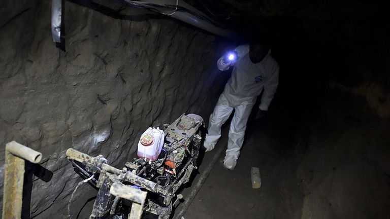 A motorbike on rails was found in the tunnel through which El Chapo escaped jail in 2015