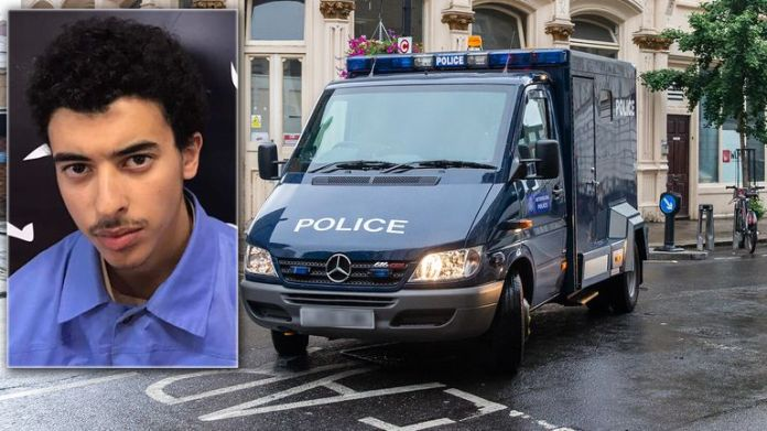 A police van carrying Hashem Abedi the younger brother of Manchester Arena bomber Salman Abedi arrives at Westminster Magistrates' Court