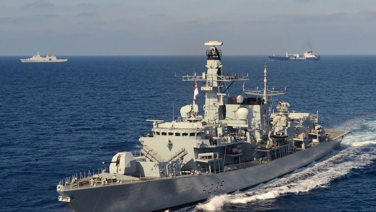HMS Montrose provided added protection to the tanker. File pic