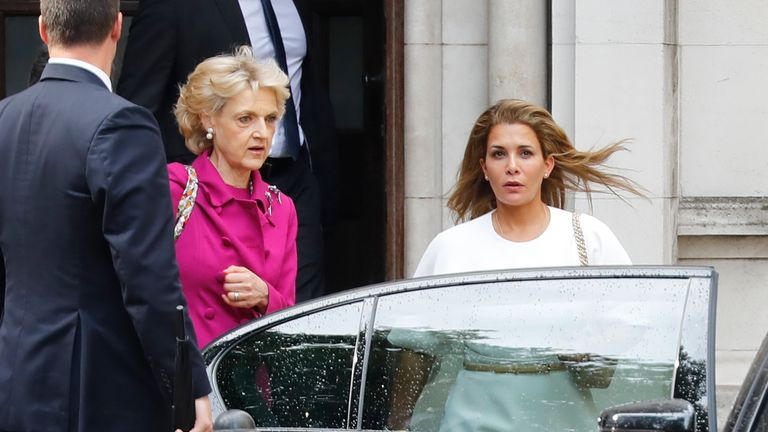 Princess Haya, right, outside of court, with her lawyer Fiona Shackleton