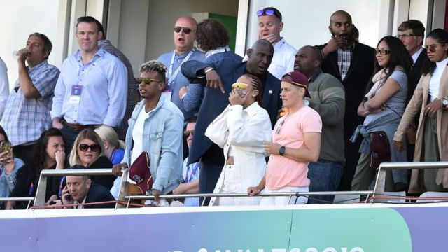Barbadian singer/actress Rihanna spectates during the 2019 Cricket World Cup group stage match between Sri Lanka and West Indies at the Riverside Ground, in Chester-le-Street, northeast England, on July 1, 2019.