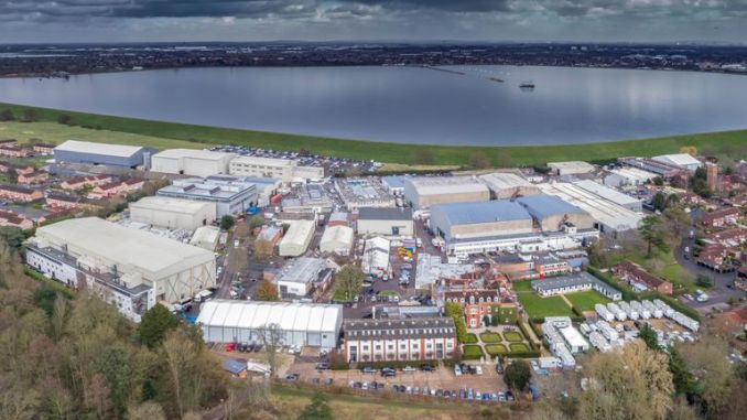 An aerial view of Shepperton Studios in Surrey