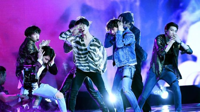 LAS VEGAS, NV - MAY 20:  Music group BTS performs onstage during the 2018 Billboard Music Awards at MGM Grand Garden Arena on May 20, 2018 in Las Vegas, Nevada.  (Photo by Kevin Winter/Getty Images)