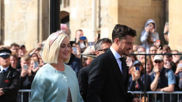 Katy Perry and Orlando Bloom arrive at York Minster for the wedding