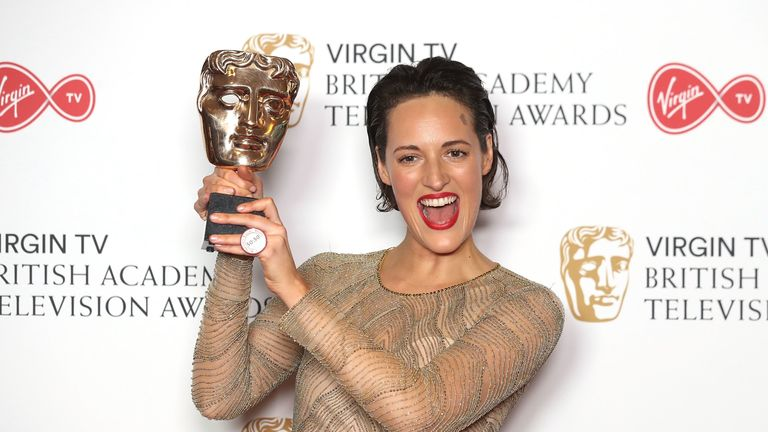 Phoebe Waller-Bridge with her 2017 BAFTA for Fleabag