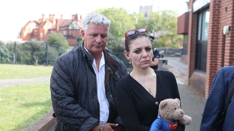 Jo, the mother of Jed Foster, with his stepfather (name not given) outside Reading Magistrates Court where Mr Foster was appearing charged with the murder of PC Andrew Harper