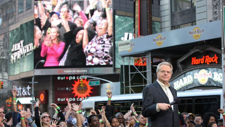 """TV personality Jerry Springer attends the taping of """"The Jerry Springer Show"""" 20th anniversary show at Military Island, Times Square on October 11, 2010 in New York City"""