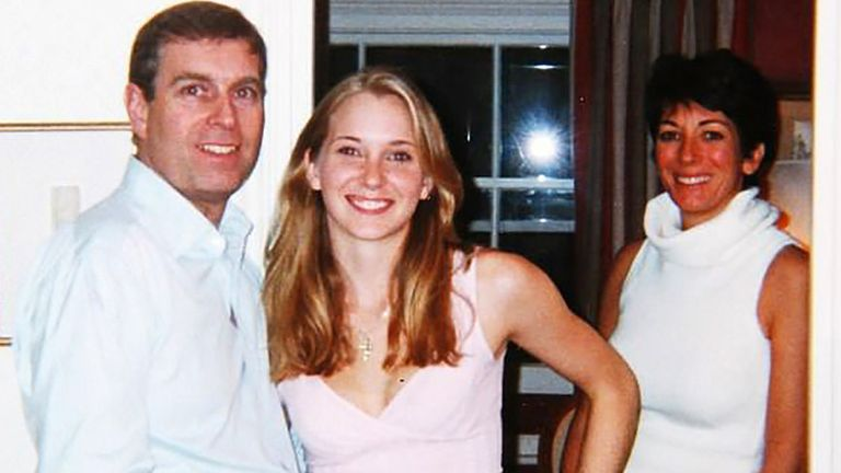 An image appearing to show Prince Andrew and a 17-year-old Virginia Roberts at Ghislaine Maxwell's house in London in March 2001. Pic: Rex/Shutterstock