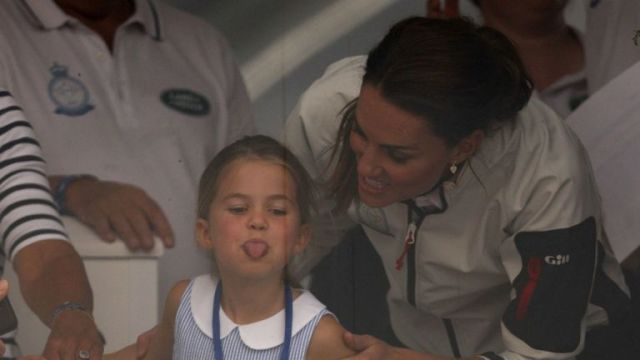 Princess Charlotte with her mum ahead of the presentation for The King's Cup regatta in Cowes