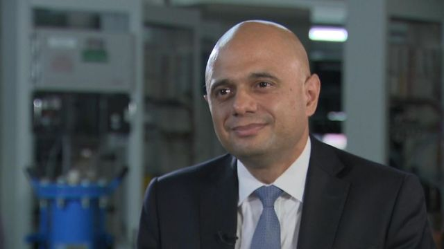 "Chancellor Sajid Javid has told Sky News the fundamentals of the UK economy are ""strong"" despite being one step away from a possible recession."
