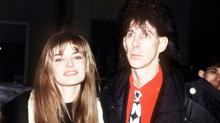 Model and actress Paulina Porizkova with  her husband, singer Ric Ocasek, circa 1990. (Photo by Kypros/Getty Images)