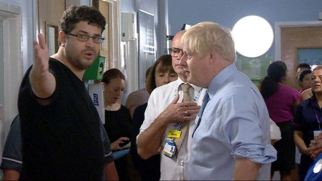 """The prime minister's visit to a hospital was interrupted by a man angry over """"years and years and years of the NHS being destroyed"""""""