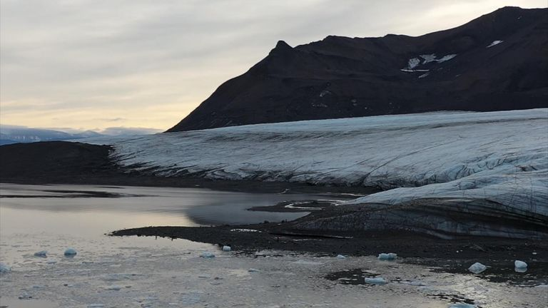 A glacier near Ny Alesund, a research base on the Norwegian archipelago of Svalbard, 800 miles from the North Pole