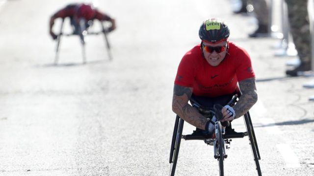 David Weir won the men's elite wheelchair race