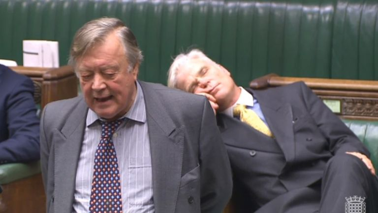 Sir Desmond Swayne MP appearing to sleep as he sits behind former Chancellor Ken Clarke
