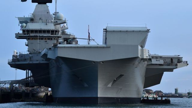 The HMS Queen Elizabeth aircraft carrier in Portsmouth in June