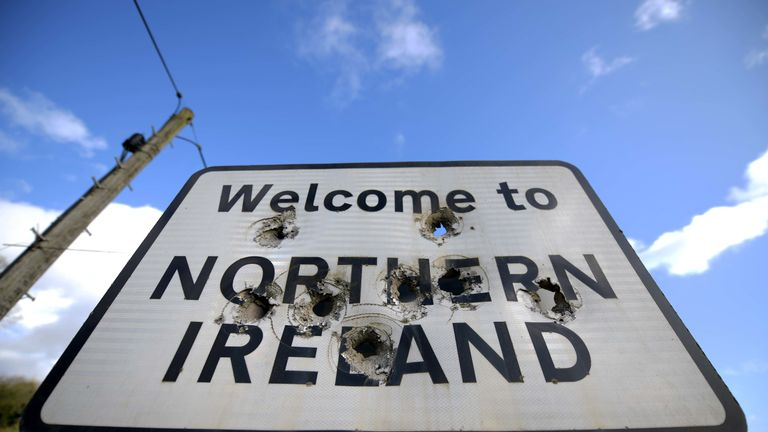 BALLYCONNELL, IRELAND - FEBRUARY 22: A Welcome to Northern Ireland sign is marked with bullet holes on February 22, 2019 in Ballyconnell, Ireland. Britain will leave the European Union on March 29 following the referendum in 2016. Many people in Northern Ireland are concerned about a return of a so called hard border which could lead to a return to the violence of the Troubles. (Photo by Charles McQuillan/Getty Images)