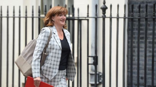 Nicky Morgan in Downing Street in central London.