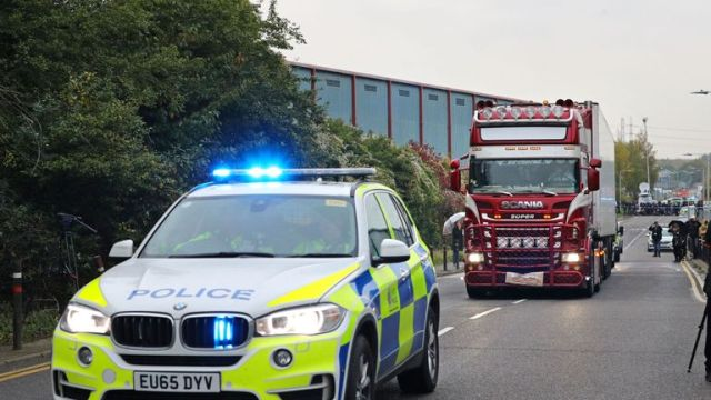 Police have escorted the lorry away from the scene of the discovery