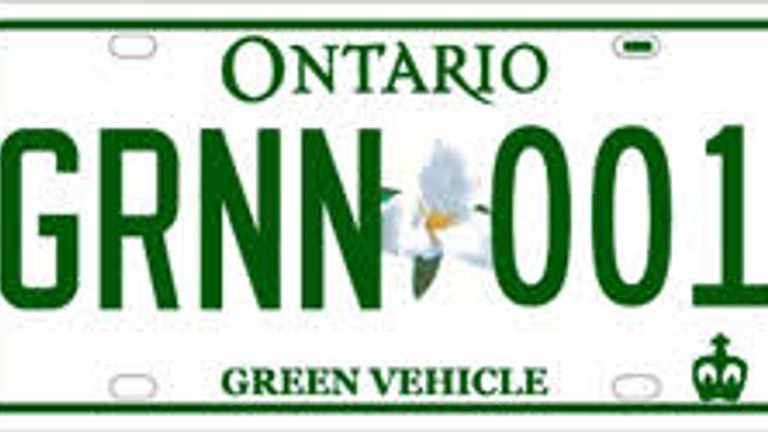 In Ontario the introduction of green plates saw an increase in electric car registrations Pic: mto.gov.on.ca