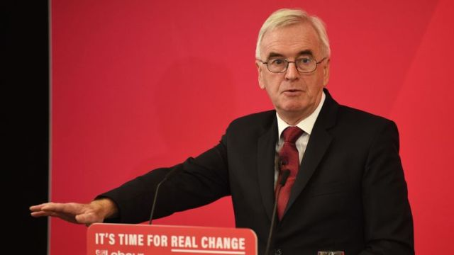 Britain's main opposition Labour Party shadow Chancellor of the Exchequer John McDonnell gives a speech on digitial infrastructure policy at an election campaign event in Lancaster, northwest England on November 15, 2019. - Britain's main opposition Labour party today promised free, fast broadband internet for everyone, in an eye-catching pledge for next month's election. (Photo by Oli SCARFF / AFP) (Photo by OLI SCARFF/AFP via Getty Images)
