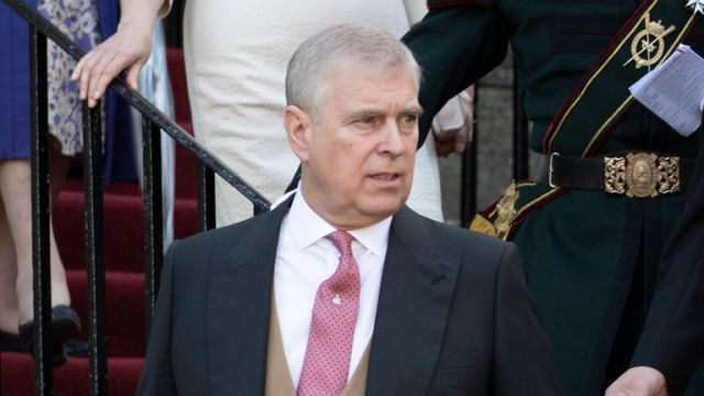 Prince Andrew, the Earl of Inverness as he is known in Scotland, during a garden party at the Palace of Holyroodhouse in Edinburgh.