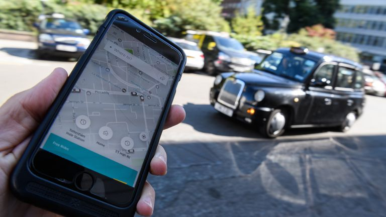 LONDON, ENGLAND - SEPTEMBER 22:  In this Photo Illustration, a phone displays the Uber ride-hailing app on September 22, 2017 in London, England. The Transport Regulator has announced that it will not re-new the company's licence to operate in London as it's current service is