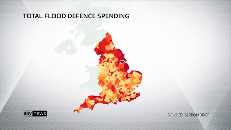 Darker areas show the constituencies where the most money is planned to be spent on flood defences SOURCE: CARBON BRIEF