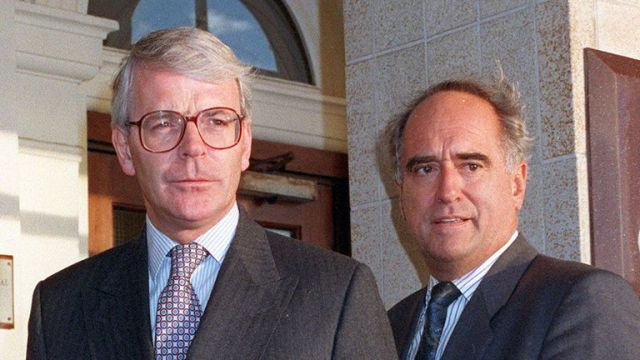 John Major with Lord Mawhinney at the party annual conference in 1995