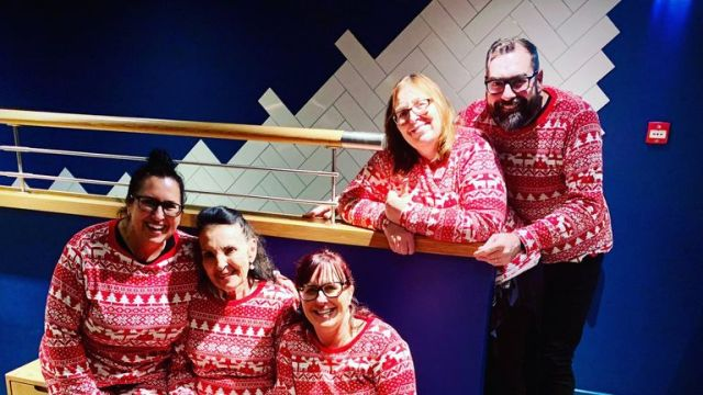 US musicians visiting the UK rom Las Vegas pictured in pyjamas they bought from Primark when flooding in Sheffield's Meadowhall shopping centre made it impossible to leave