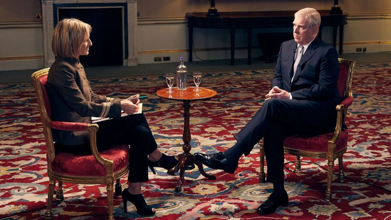 Duke of York speaking about his links to Jeffrey Epstein in an interview with BBC Newsnight's Emily Maitlis