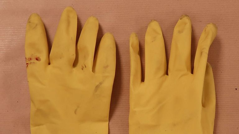 Majdouline was wearing yellow rubber gloves on the night before Jaden's death