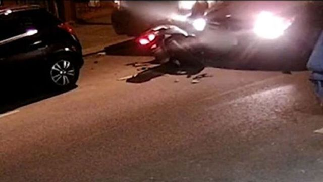 The moment Jaden Moodie was knocked off his moped was captured on CCTV
