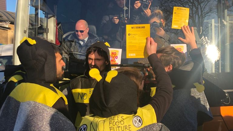 Extinction Rebellion protesters on the bus