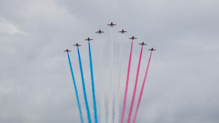 The Red Arrows marked Mr Mounsdon's centenary with a display in Menorca
