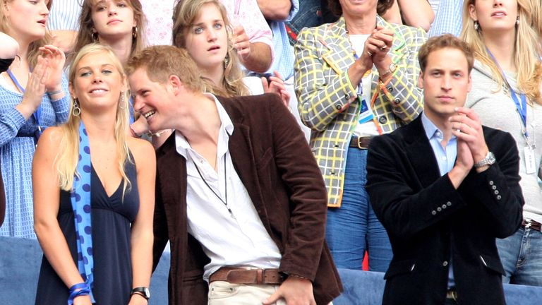 LONDON - JULY 01:  Their Royal Highnesses Prince William (R) and Prince Harry (C) and guest Chelsy Davy (L) watch the Concert for Diana at Wembley Stadium on July 1, 2007 in London, England. The Concert falls on the date that would have been the late Princess's 46th birthday and marks 10 years since her death with an event headed by Princes William and Harry to celebrate her life.  (Photo by Getty Images/Getty Images)