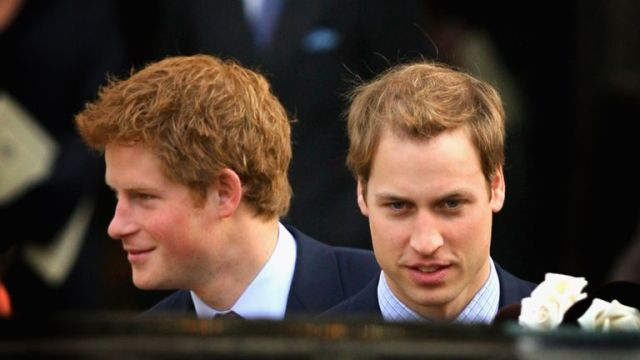LONDON - NOVEMBER 19: HRH Prince William and Prince Harry leave HRH Queen Elizabeth II and Prince Phillip, The Duke of Edinburgh's 60th Diamond Wedding Anniversary celebration in Westminster Abbey on November 19, 2007 in London, England. (Photo by Chris Jackson/Getty Images)