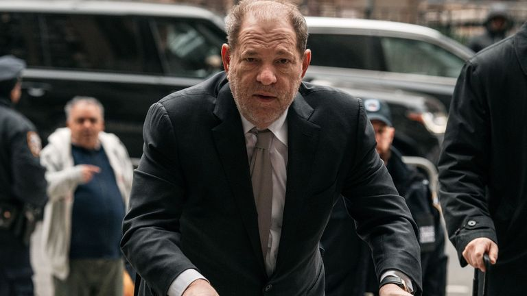 Harvey Weinstein enters the New York City Criminal Court on January 13, 2020 in New York City