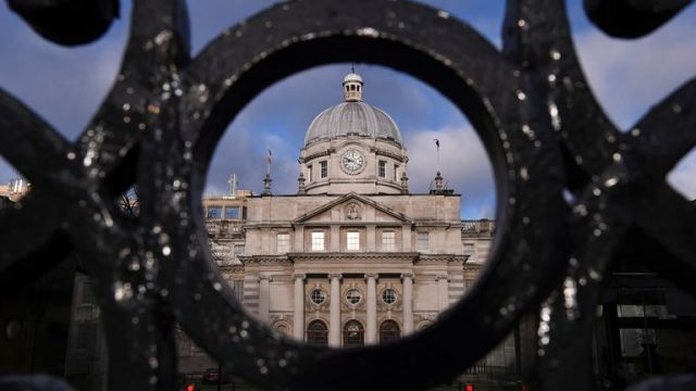 A general view shows Government Buildings in Dublin