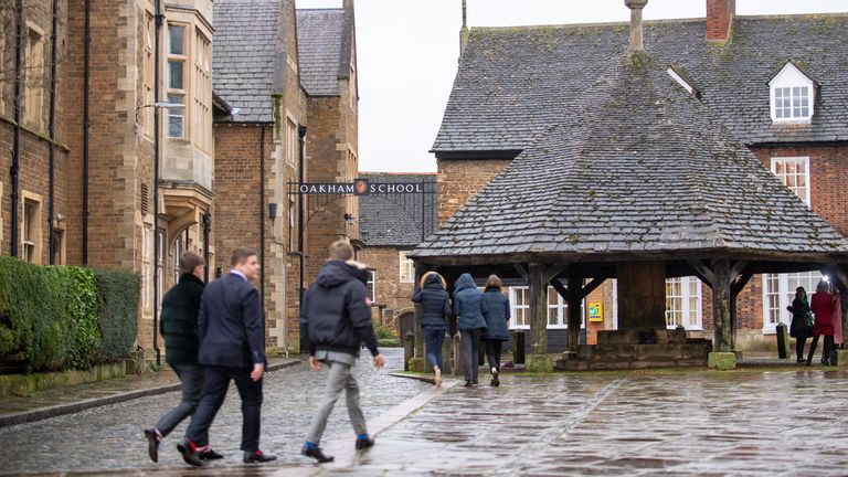 People walk through the centre of Oakham in Rutland