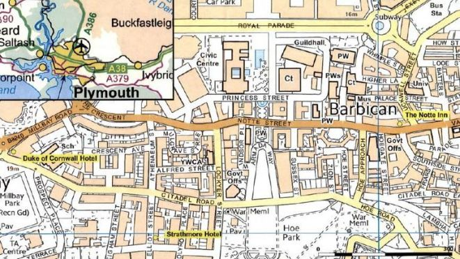 Police have released a map showin the locations of the Duke of Cornwall Hotel, the Notte Inn, and the Strathmore Hotel