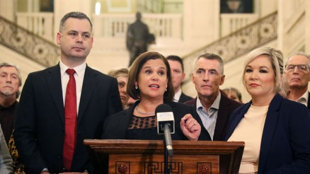 Sinn Fein leader Mary Lou McDonald (centre), and deputy leader Michelle O'Neill (R)