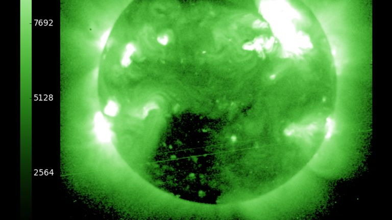 The handout from the NOAA / National Weather Service's Space Weather Prediction Center shows a solar flare erupting from the sun in late January 23, 2012. The torch is reportedly the largest since 2005 and is expected to affect GPS systems and other communications when it hits Earth's magnetic field on the morning of January 24th. (Photo by NOAA / National Weather Service's Space Weather Prediction Center via Getty Images)