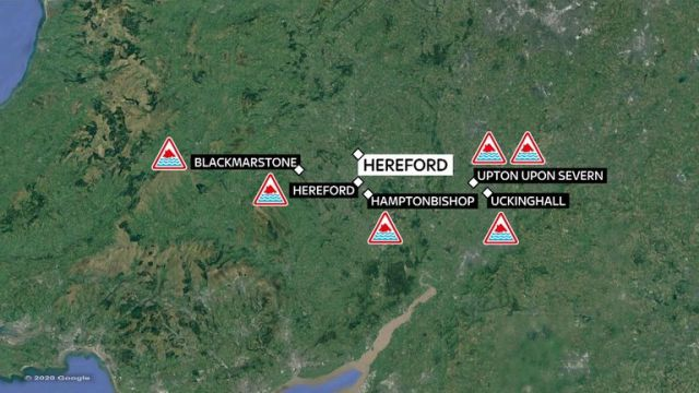 Six severe flood warnings have been issued around Hereford