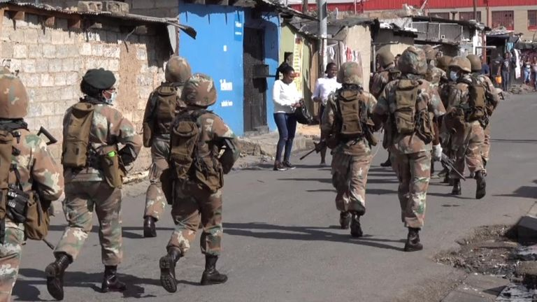 Soldiers have been bussed into Alexandra to try and police the lockdown