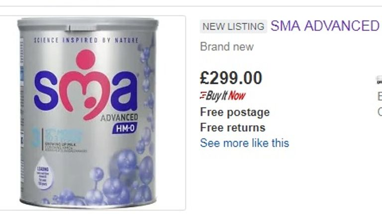 An eBay seller was offering a box of SMA baby formula for £299