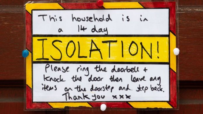 A sign on the front door of a self-contained house in Cardiff