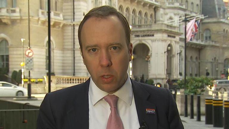Health secretary, Matt Hancock MP on Ridge on Sunday.
