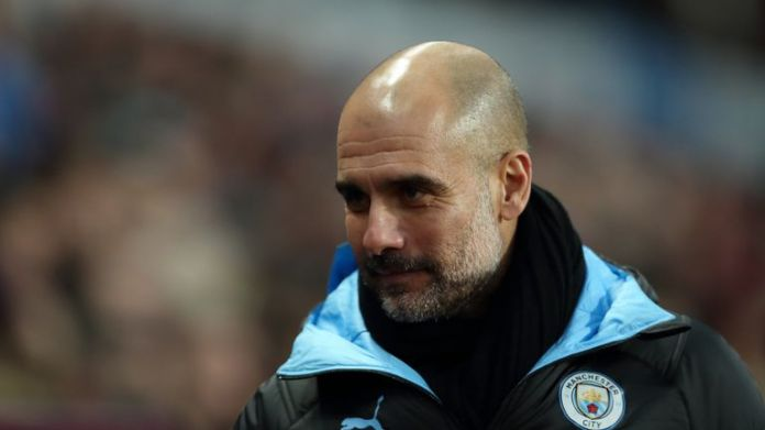 BIRMINGHAM, ENGLAND - JANUARY 12: Manchester City manager / head coach Pep Guardiola during the Premier League match between Aston Villa and Manchester City at Villa Park on January 12, 2020 in Birmingham, United Kingdom. (Photo by James Williamson - AMA / Getty Images)